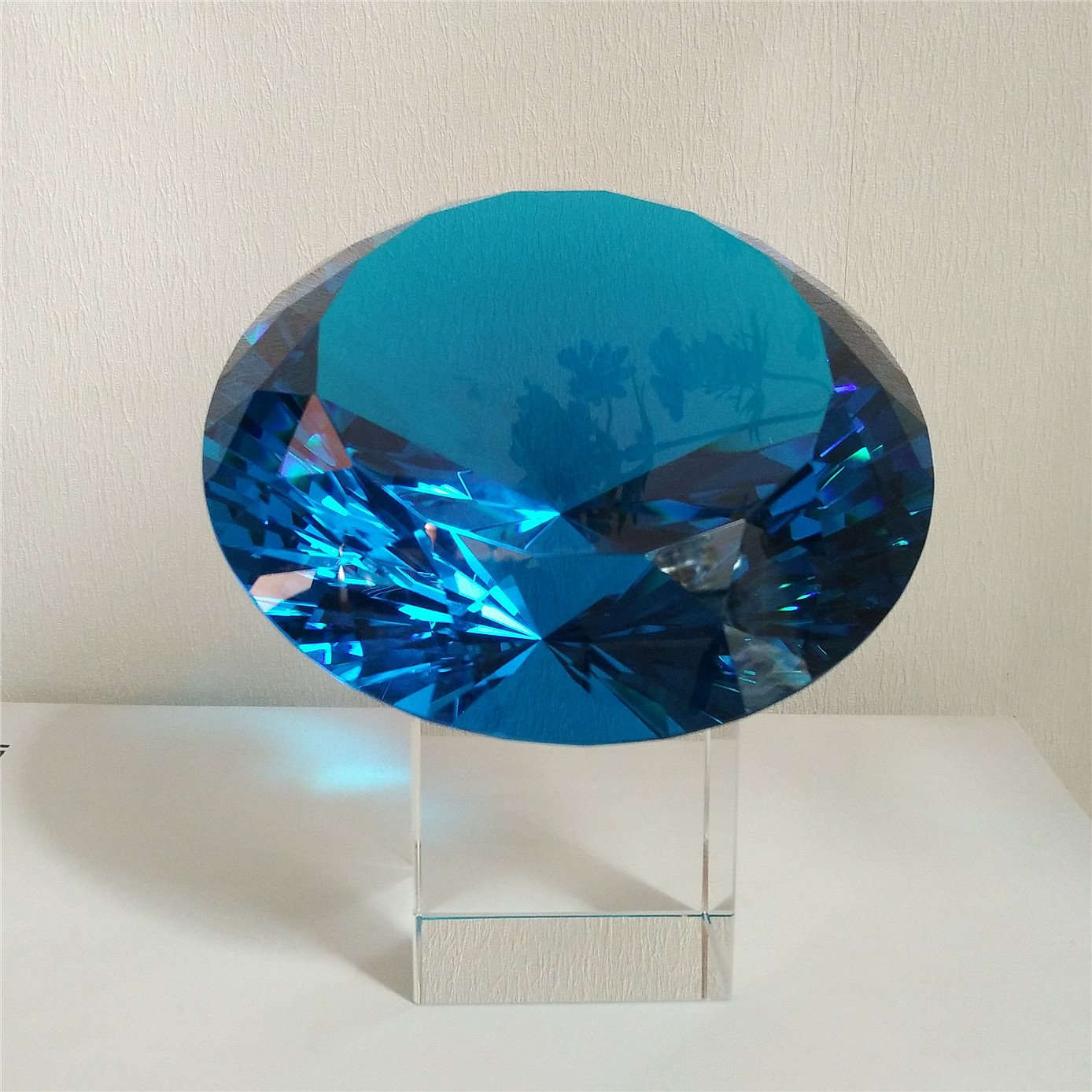 BRLIGHTING Cobalt Blue crystal Diamond Paperweight on stand for Office, Lovely Gift for Friends and Family (D120mm / 4.73'') by BRLIGHTING (Image #3)