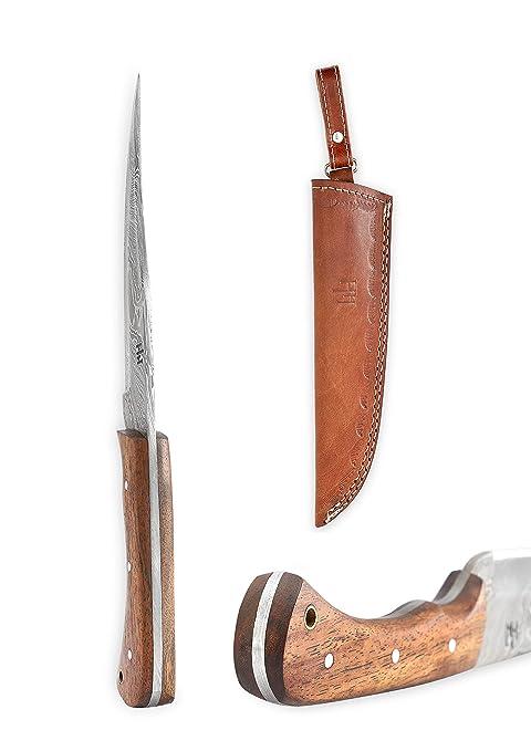 Hobby Hut HH-402, 11 inch Bushcraft Damascus Steel Fixed Blade Knife|Hunting Knife, Walnut Wood Handle|Leather Sheath|Full Tang| Outdoor Razor Sharp ...