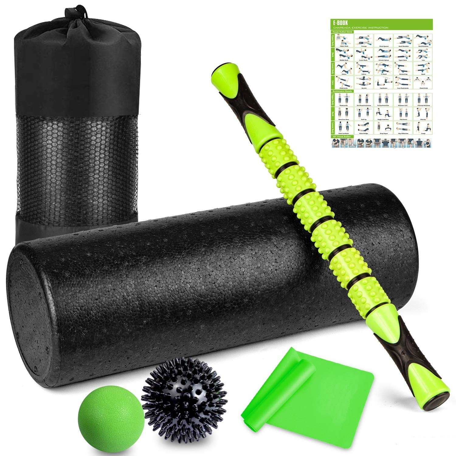 6 in 1 Premium Massage Foam Roller Kit 18″ Large Foam Roller with Muscle Roller Stick 2 Massage Balls & 1 Resistance Band for Physical Therapy Injury Prevention Stretching Yoga & Trigger Point