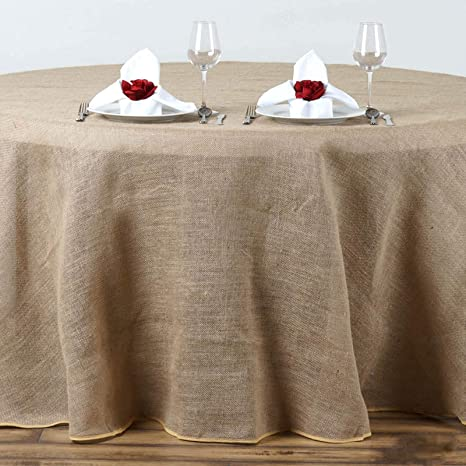 Amazon Com Balsacircle 108 Inch Natural Brown Burlap Jute Rustic Round Tablecloth Country Chic Wedding Party Dining Room Home Table Linens Home Kitchen