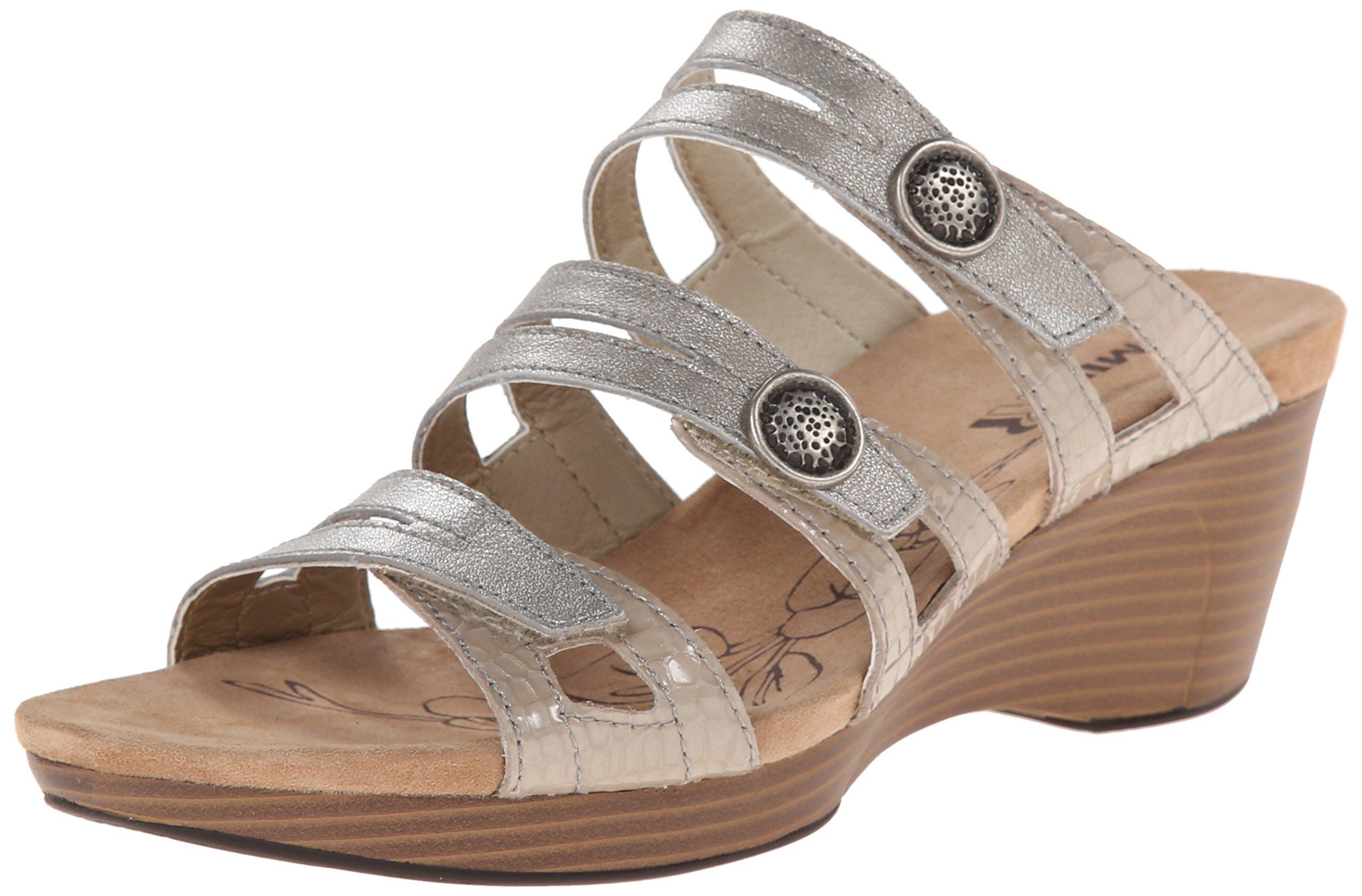 Romika Women's Jamaika 02 Wedge Sandal, Platino Kombi Antique Metallic, 38 BR/7-8 M US
