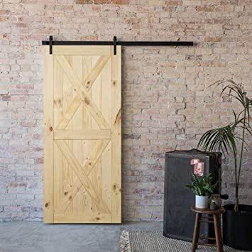 Interior Natural BELLEZE 36in x 84in Sliding Barn Wood Door Unfinished Knotty Pine Single Door Only Pre Drilled 3 ft X 7 ft