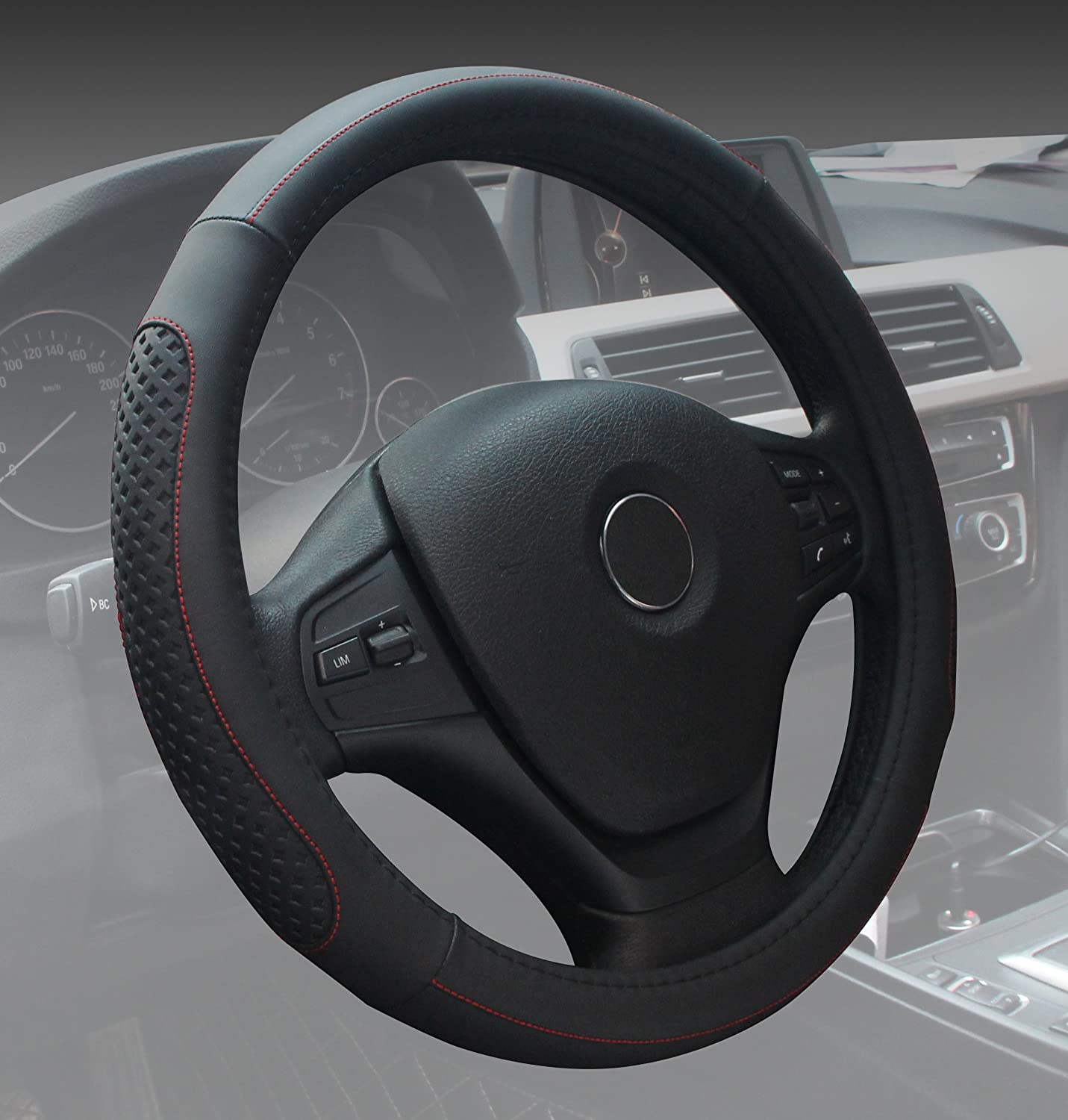 Steering Wheel Covers Universal 15 inch Genuine Leather Protector Anti-Slip Durable Breathable Sports Wave Pattern Black with Black Lines SuperArt