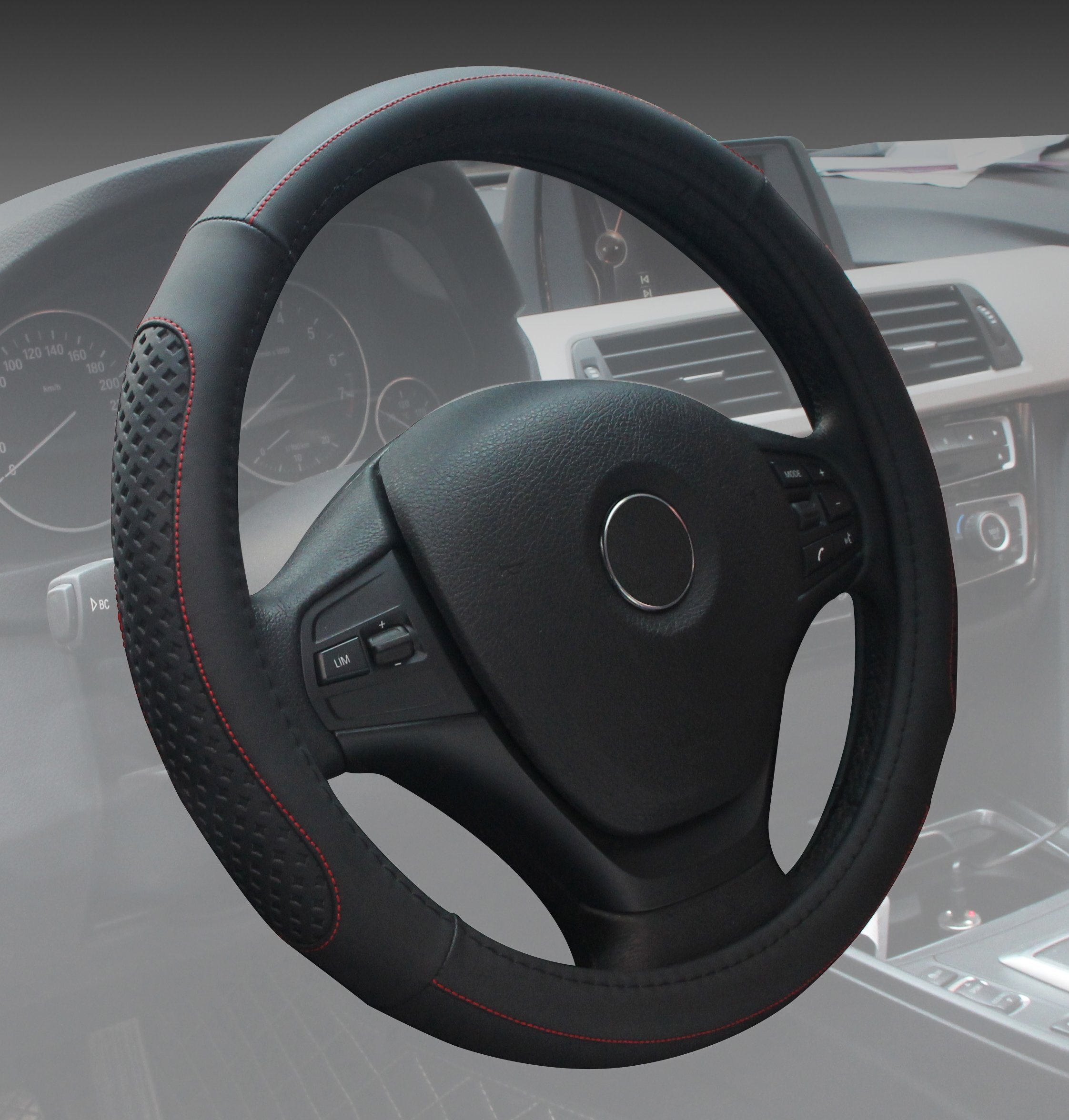 Car Steering Wheel Cover 15 Inch Microfiber Leather Universal Fashion Breathable Anti Slip Black