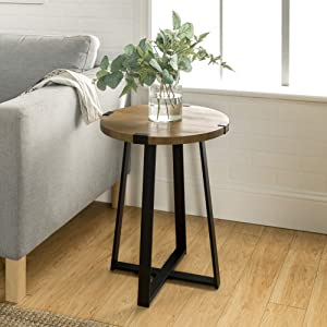"WE Furniture AZF18MWSTRO Industrial Round Metal Wrap Side End Table, 18"", Rustic Oak Top X Base"