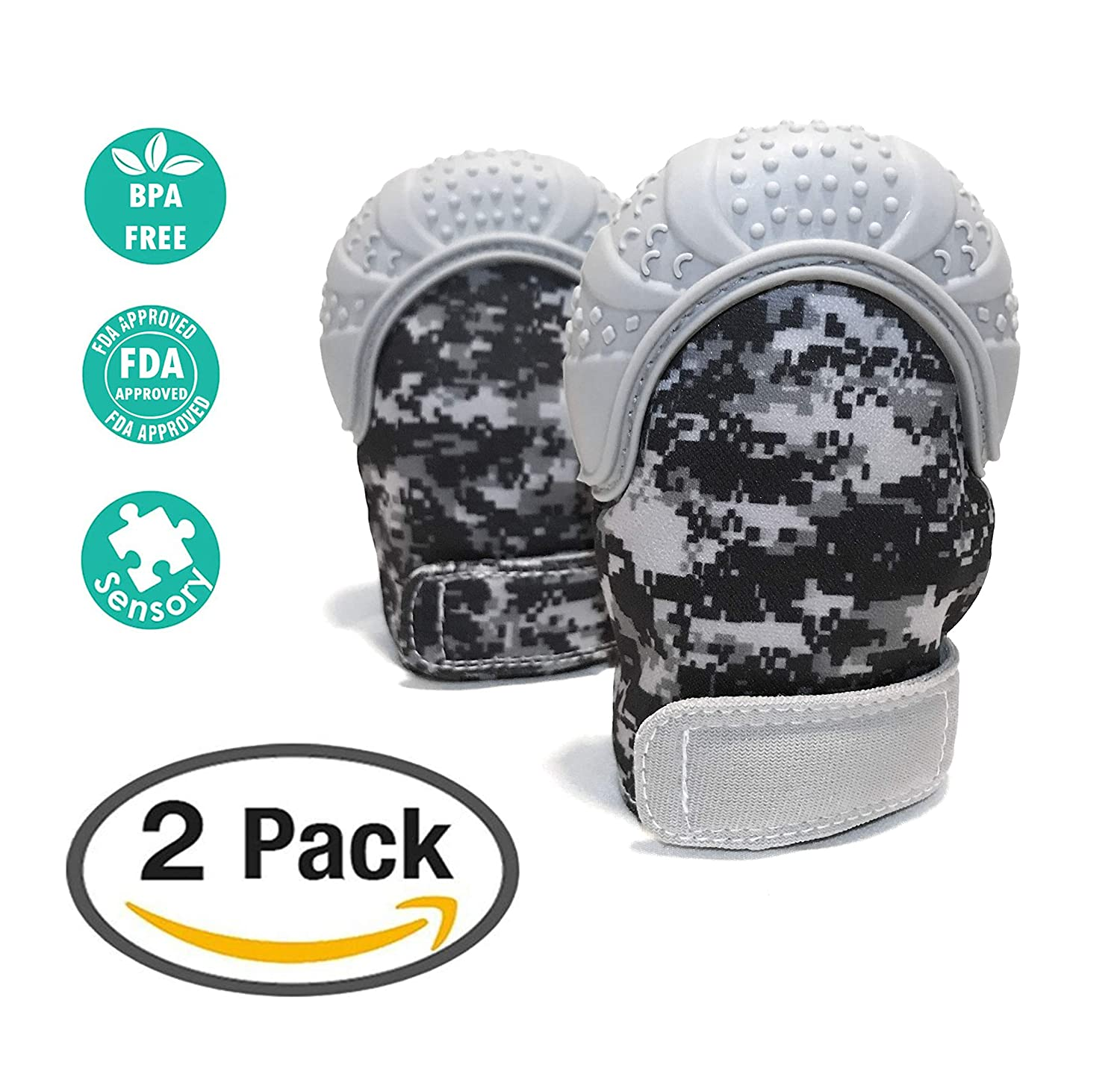 Baby Teething Mitten 2 Pack|Unique Digital Camo Print|Self-Soothing//Pain Relief|BPA-Free//Food-Grade Silicone Includes 2 Free Hygienic Carrying Bags Shenzhen Wo Silicone Technology Co Ltd
