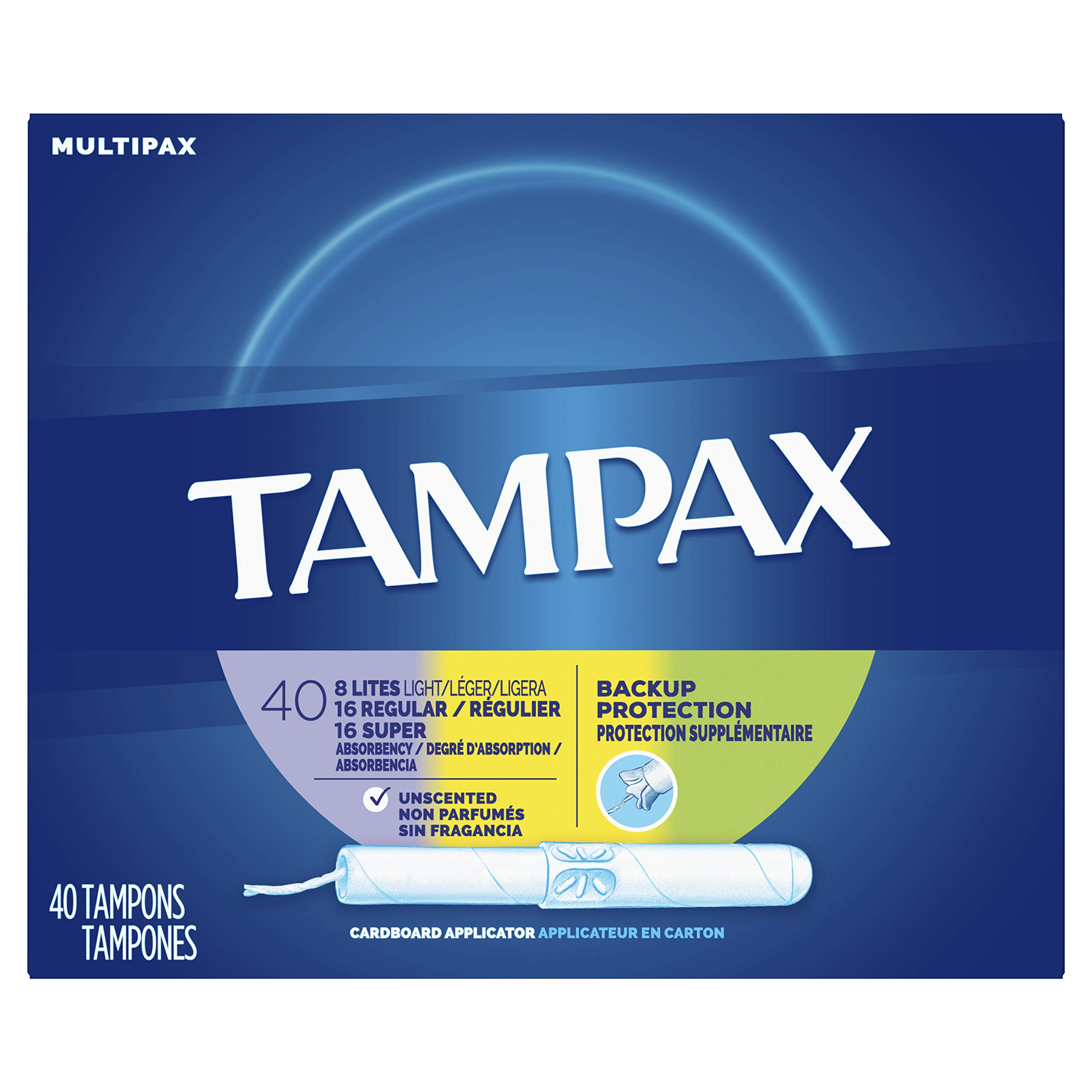 Tampax Cardboard Applicator Tampons, Light/Regular/Super Absorbency Multipack, Unscented, 40 count - Pack of 3 (120 Total Count) by Tampax
