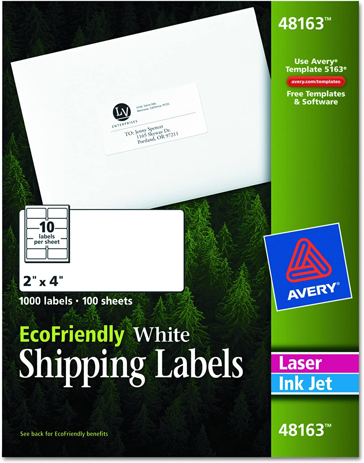 AVERY White EcoFriendly Shipping Labels, 2 x 4 Inches, Box of 1000 (48163): Office Products