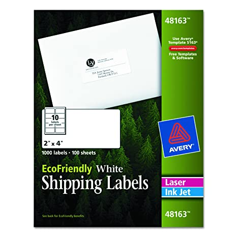 amazon com avery white ecofriendly shipping labels 2 x 4 inches