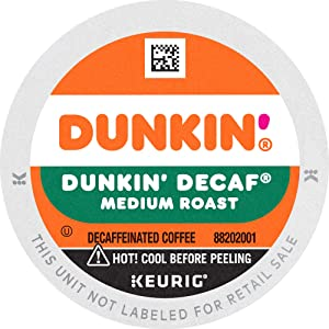 Dunkin' Decaf Medium Roast Coffee, 22 K Cups for Keurig Coffee Makers (Packaging May Vary)