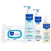 Mustela Baby Bonding Essentials Bundle, Baby Skin Care Gift Set, 4 Items