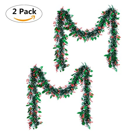 Christmas Tinsel Garland GreenDec Thick And Full Tinsel Sparkly Artificial Christmas  Garland For Christmas Tree