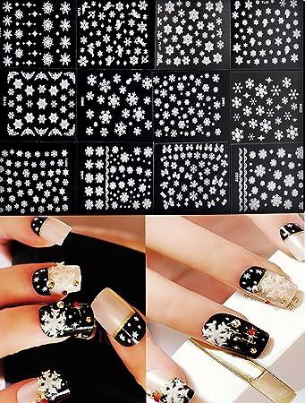 Amazon Com Chinatera 12 Sheet Christmas Snowflake 3d Nail Art