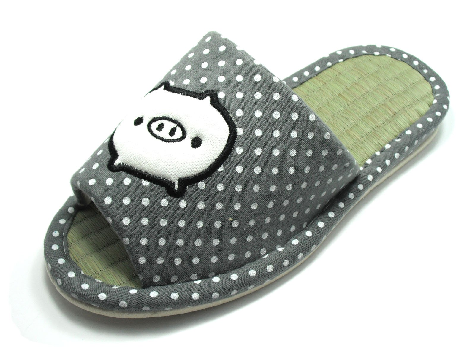 KNP26032T/Indoor Bamboo Breathable Slippers with Baby Piggy Available Four Sizes and Two Colors (S(5-6)/35-36 S EU, Grey)