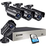 ZOSI 1080P Security Camera System with 1TB Hard Drive H.265+ 8CH 5MP Lite HD-TVI Video DVR Recorder with 4X HD 1920TVL…