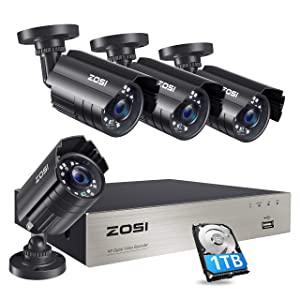 ZOSI 1080P Security Camera System with 1TB Hard Drive H.265+ 8CH 5MP Lite HD