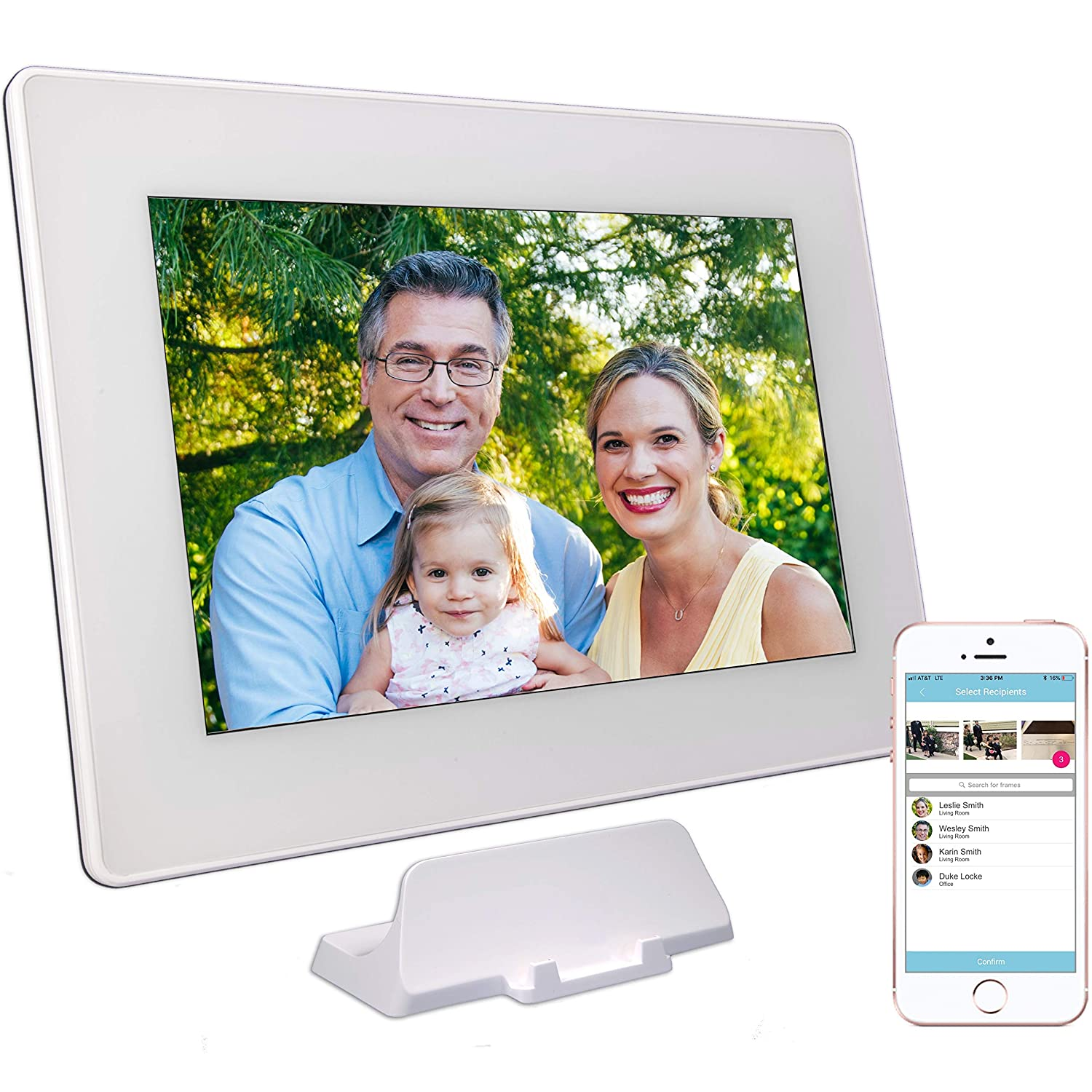 PhotoSpring (16GB) 10-Inch IPS, WiFi, Touchscreen, Battery, iPhone & Android App, Photo & Video, Digital Picture Frame (White) 15,000 photo capacity PS101-16