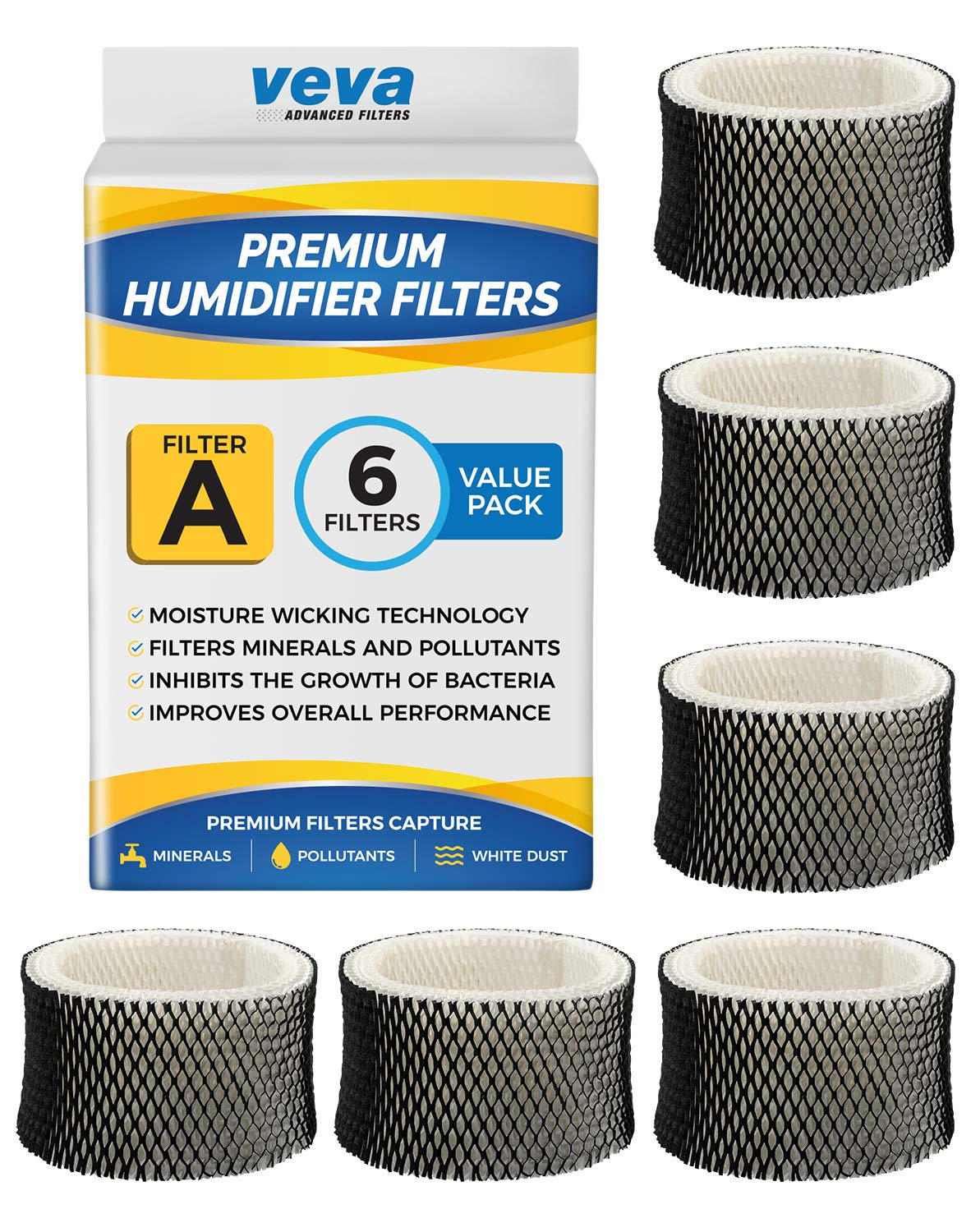 VEVA 6 Pack Premium Humidifier Filters Replacement for Holmes Filter A, HWF62, HWF62S, and Other Sunbeam Cool Mist Humidifiers by VEVA