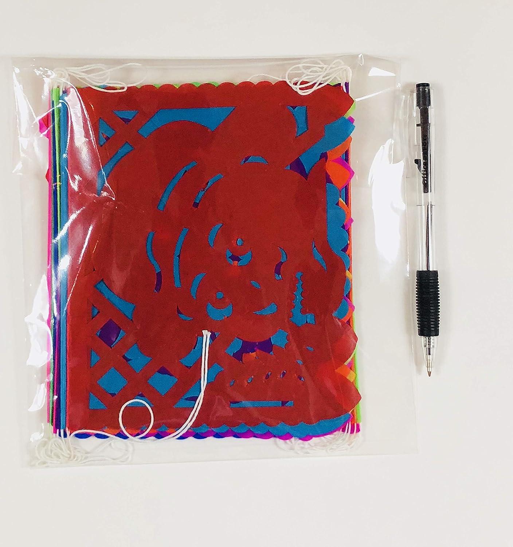 Colorful Dia de Muertos decoration Small Size 2 Pack Tissue Paper Mexican Papel Picado banner.