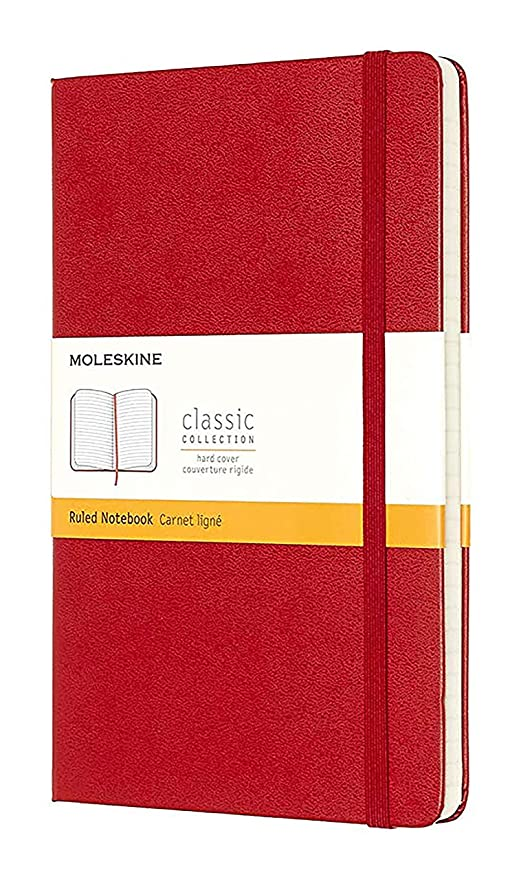 Moleskine 944376 - Cuaderno de tapa dura, de rayas, bolsillo, rojo