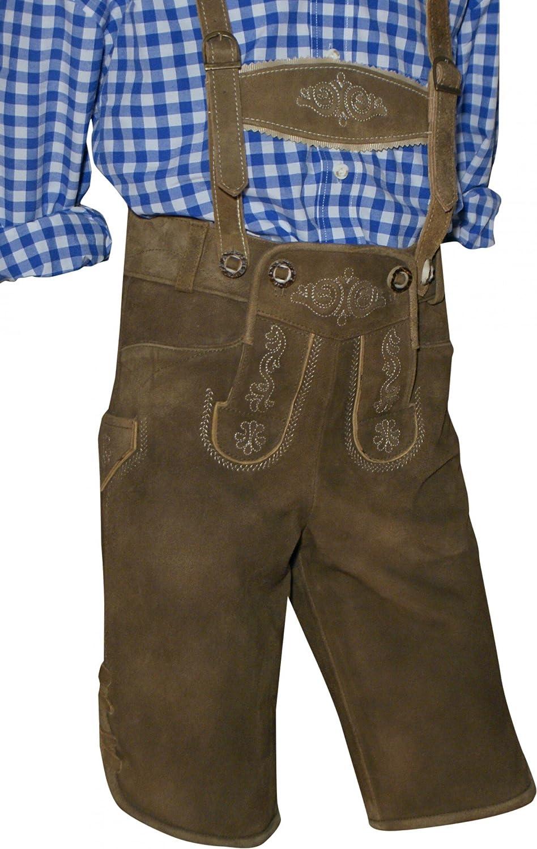 Trachten-Kinderlederhose Kinder-Lederhose Leder-Hose kurz Trachtenhose braun