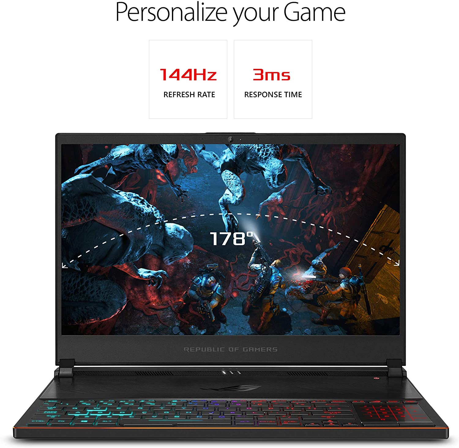 """ASUS ROG Zephyrus S Ultra Slim Gaming PC Laptop, 15.6"""" 144Hz IPS Type, Intel Core i7-8750H CPU, GeForce GTX 1070, 16GB DDR4, 512GB PCIe SSD, Military-Grade Metal Chassis, Win 10 Home - GX531GS-AH76"""