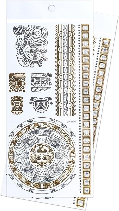Tatuajes temporales Zooky® joyería pulsera metálicos Símbolos Inca ...