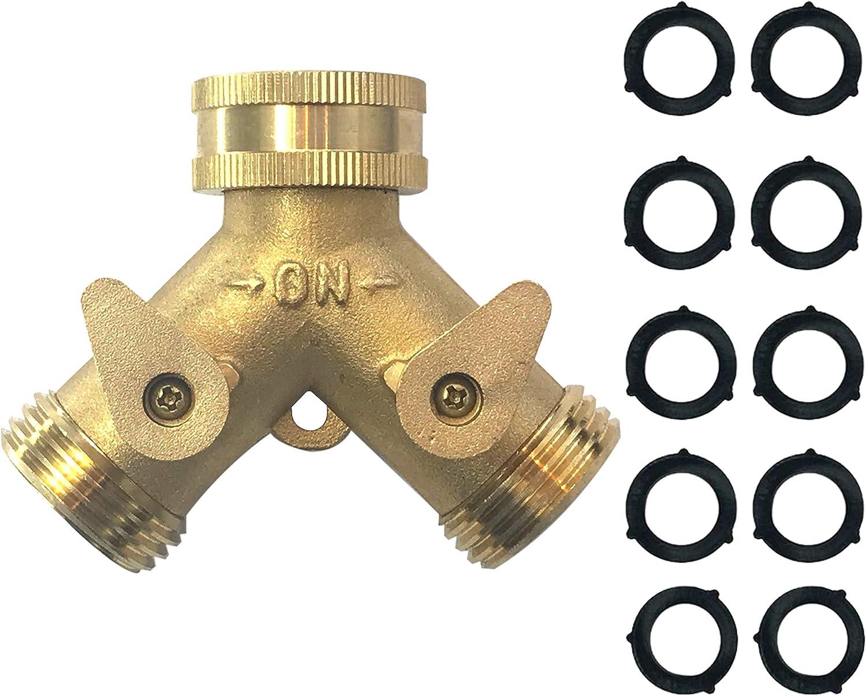 MAXFLO Heavy Duty Brass Y-Hose Splitter   Garden Hose 2 Way Splitter   Y Splitter Hose   Lawn Hose Splitter Spigot Adapter with 2 Valves   10 Extra Rubber Washers