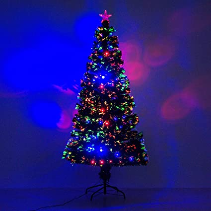 6 artificial holiday fiber optic led light up christmas tree w 8 light