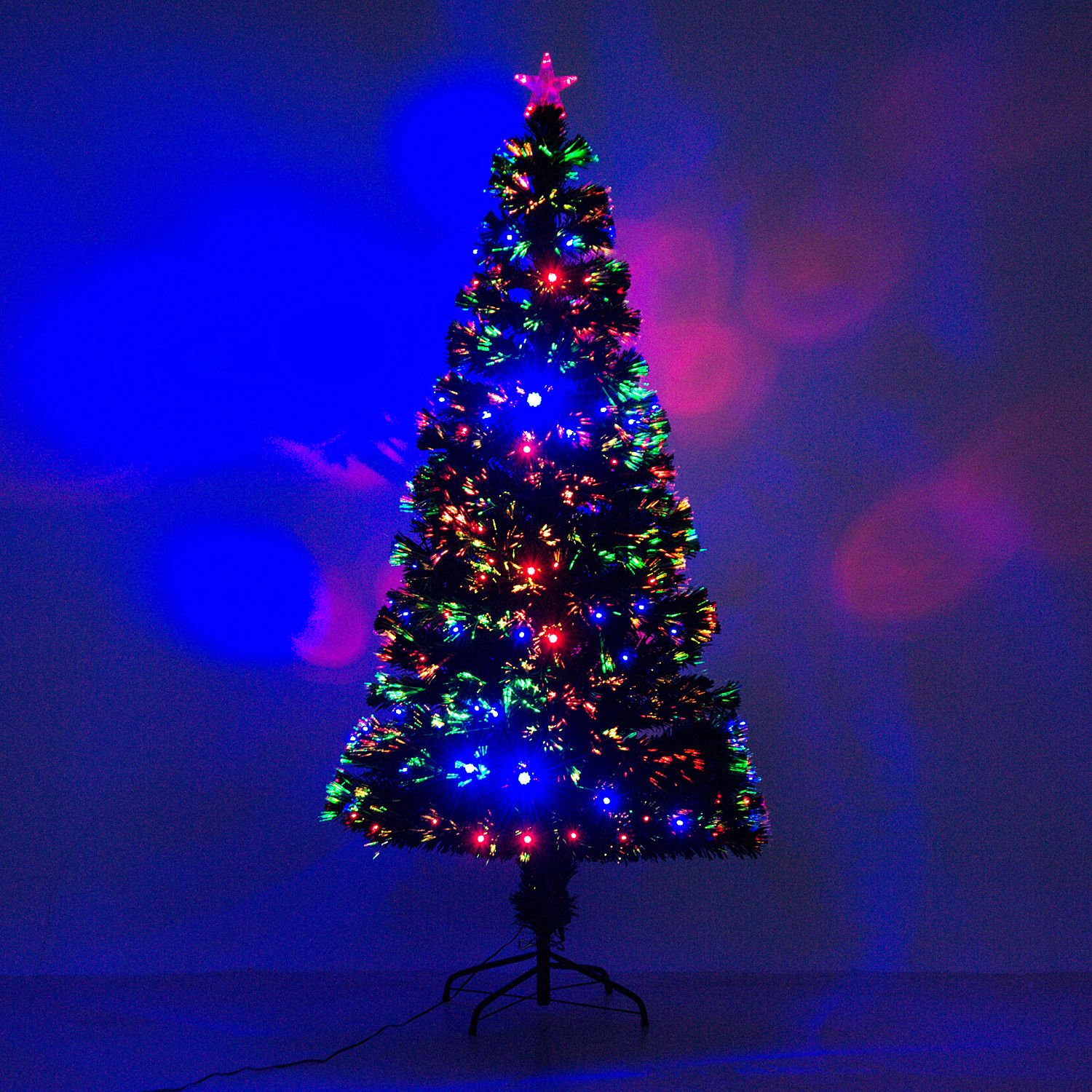 6' Artificial Holiday Fiber Optic / LED Light Up Christmas Tree w/ 8 Light Settings and Stand