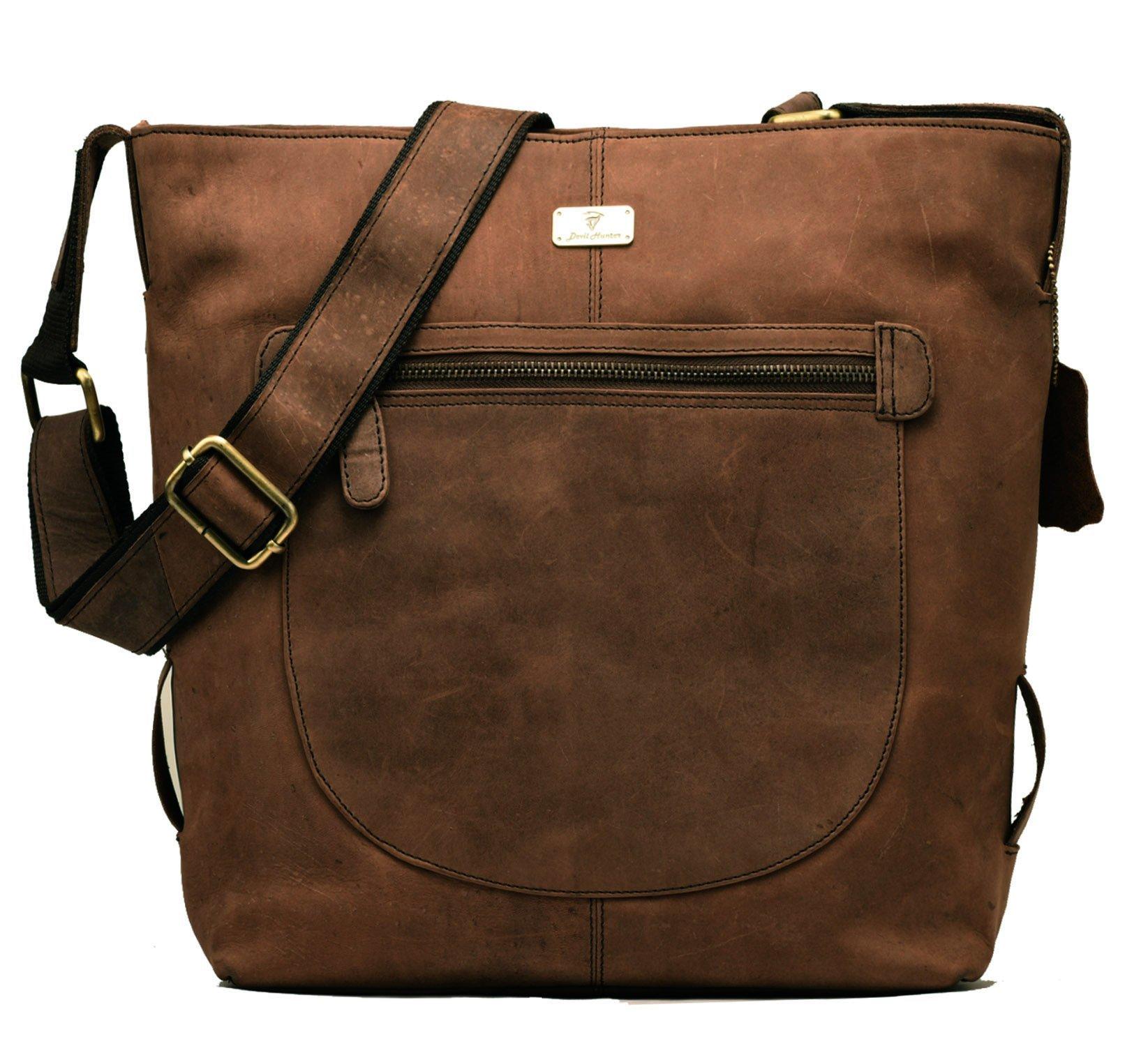 DH Monaco genuine buffalo leather shopper bag in vintage style - Nutmeg