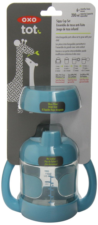 color turquesa OXO Tot Vaso 2 en 1 adaptado al crecimiento