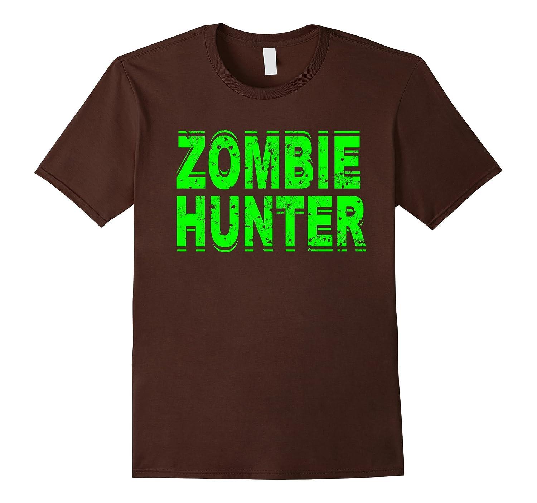 Zombie Hunter T Shirt Scary Halloween Green-FL