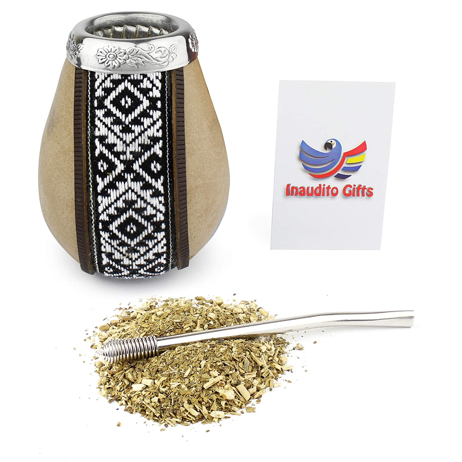 Inaudito Gifts Yerba Mate Kit Leather Edition to Drink Yerba Mate not Cured Family Size Handmade Mate Gourd bombilla and Straw