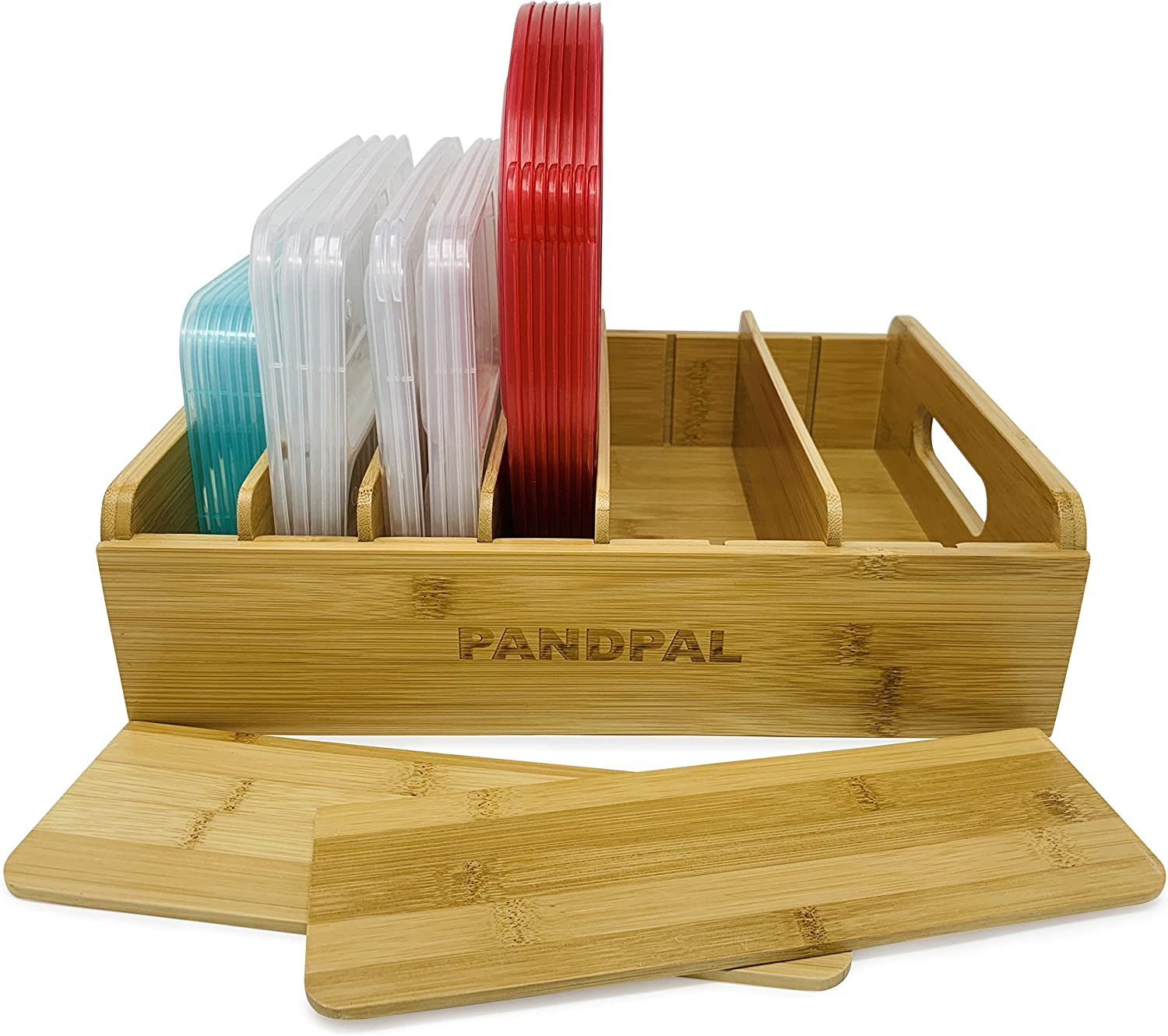 Adjustable Bamboo Lid Organizer Compatible with Tupperware Containers, Food Storage Container Lid & Kitchen Pantry Cabinet Organizer – Multipurpose Lid Holder for Kitchen, Drawer by PandPal