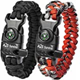 A2S Paracord Bracelet K2-Peak – Survival Gear Kit with Embedded Compass, Fire Starter, Emergency Knife & Whistle – Pack of 2 - Slim Buckle Design
