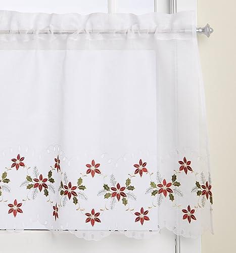 LORRAINE HOME FASHIONS Poinsettia Cutwork Tier Curtain Pair, 56 by 24-Inch