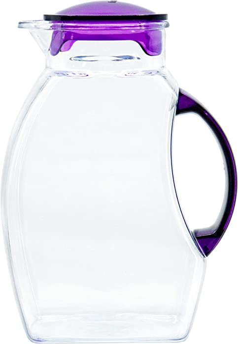 Red Co. 2.5. Litre Plastic Pitcher with Lid for Water, Iced Tea, Lemonade, Hot and Cold Beverages - Assorted Colors