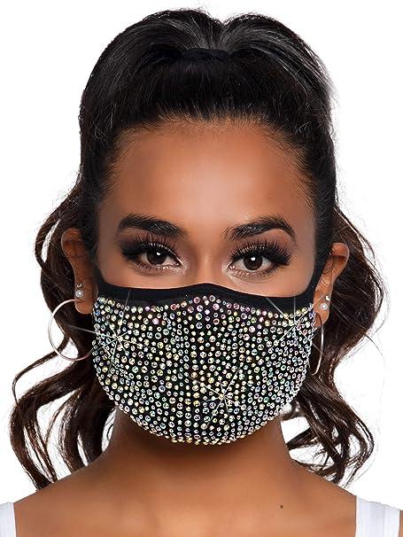 Mascherina con strass con tasca filtro leg avenue - zuri rhinestone fashionable face mask, taglia unica M100700122