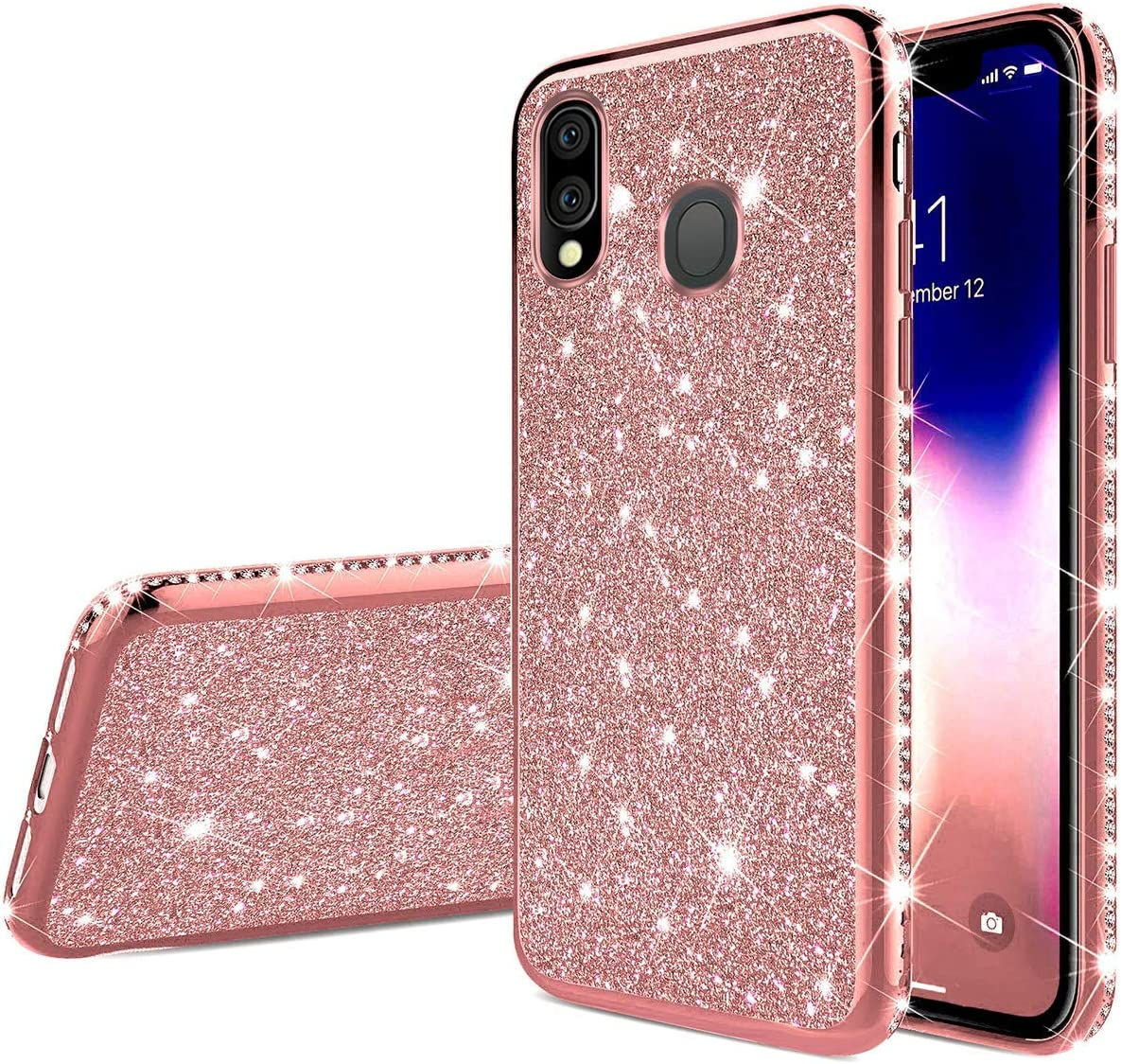 Herbests Compatible with Huawei Honor 8X Max Case Glitter Cute Girl Women Bling Crystal Diamond Rhinestone Clear Protective Phone Case Cover Shockproof TPU Rubber Silicone Cover,Gold