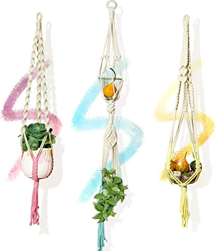 Priene Home 3 X Dip Dyed Colorful Macrame Plant Hangers Indoor Outdoor Planter Holder Color Therapy Decors 47 Inch And 31 Inch