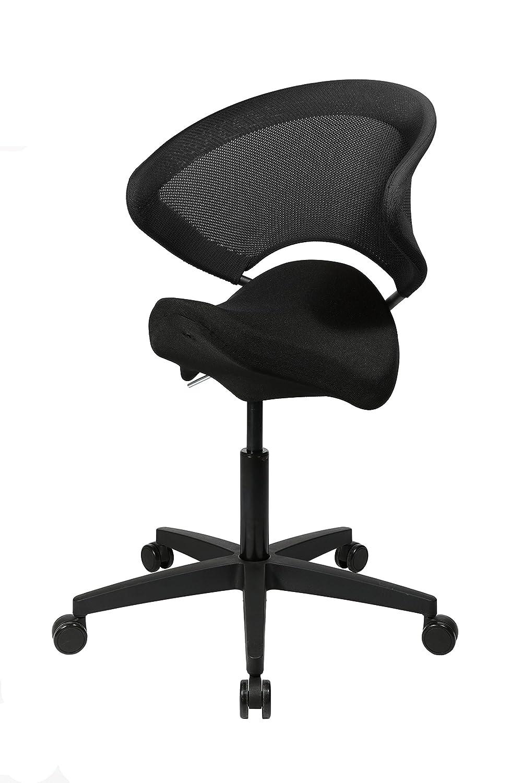 Topstar Sitness Biker Ball, ergonomischer Sitzhocker, Sitzhocker, Sitzhocker, Drehhocker, Sattelsitz, mit Rückenlehne, Stoff, grün schwarz 509ef4