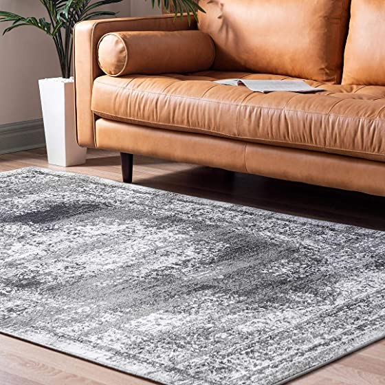 Rugs.com Lucerne Collection Area Rug 9' x 12' Gray Low-Pile Rug Perfect