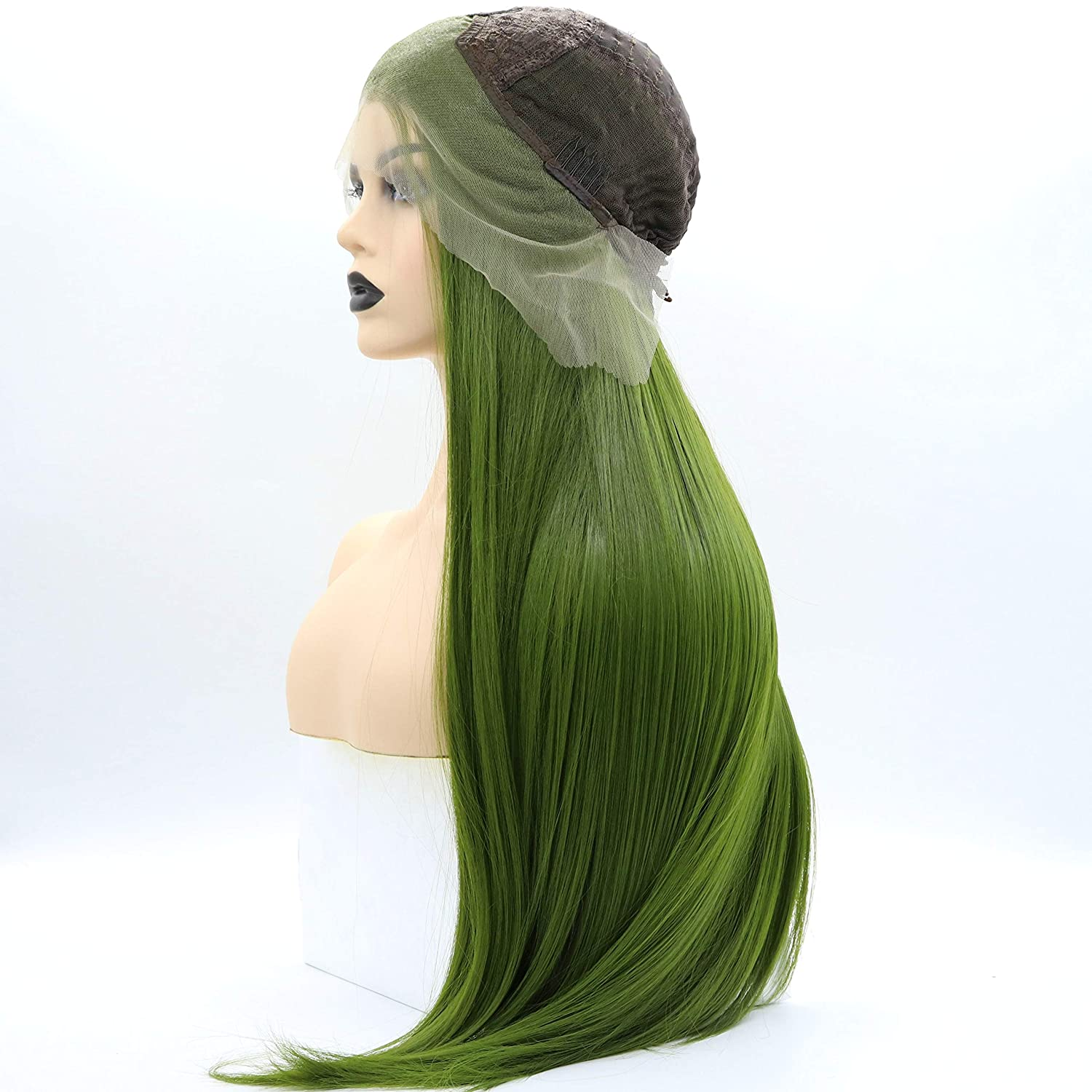 SereneWig 26Inches Long Straight Olive Green Drag Queen Wig Glueless Lace Front Replacement Wig Heat Safe Synthetic Hair Lush Green Wigs for Women Daily Makeup