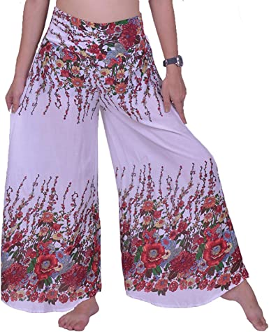 Vintage pink floral pants 70s floral pants high waist pants womens palazzo pants hippie pants palazzo pants small size