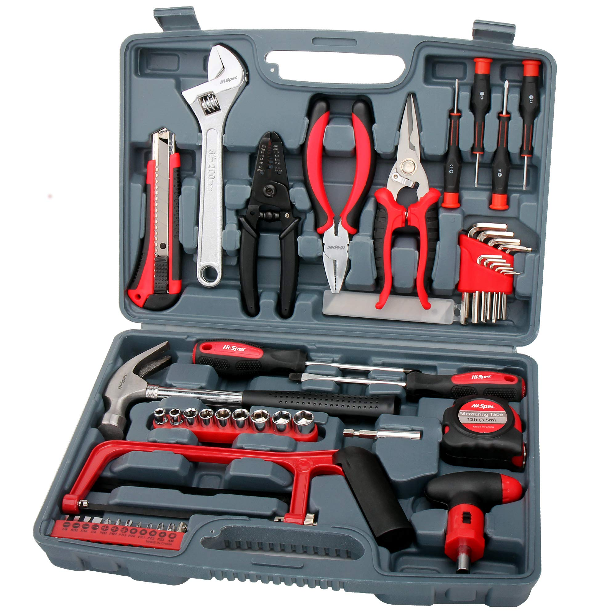 "Hi-Spec 53 Piece Household Tool Kit with Claw Hammer, Hack Saw, Wire Strippers, Crimpers, 1/4"" Drive Sockets, Combination Pliers & Ratcheting Bit Driver - Automotive, Electrical, Woodworking Tool Set"