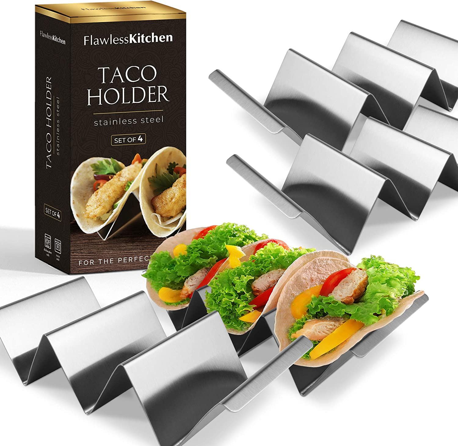 Premium Taco Holder (4 Pack) by Flawless Kitchen - Serve Your Taco Plates With Our Stylish Stands - Stainless Steel Rack Holds Up To 3 Mini Or Large Shells - Oven, Baking, Grill & Dishwasher Safe