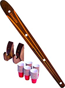GoPong Das Shotten Ski - 4 Person Drinking Ski with 50 Plastic Shot Glasses - Available in America, Retro and Rustic Designs - Choose Between Slamski, Brewski and Original Style