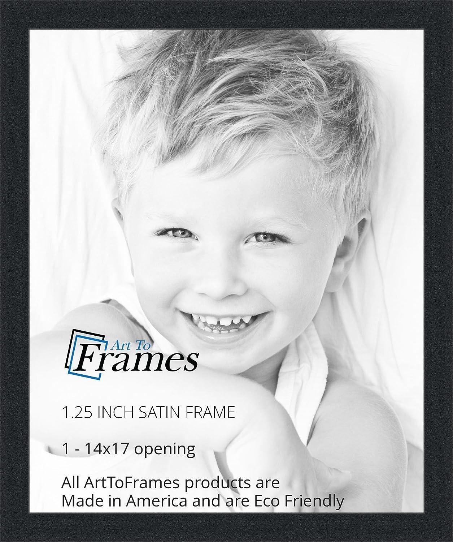 Amazon.com - ArtToFrames 14x17 inch Satin Black Picture Frame ...