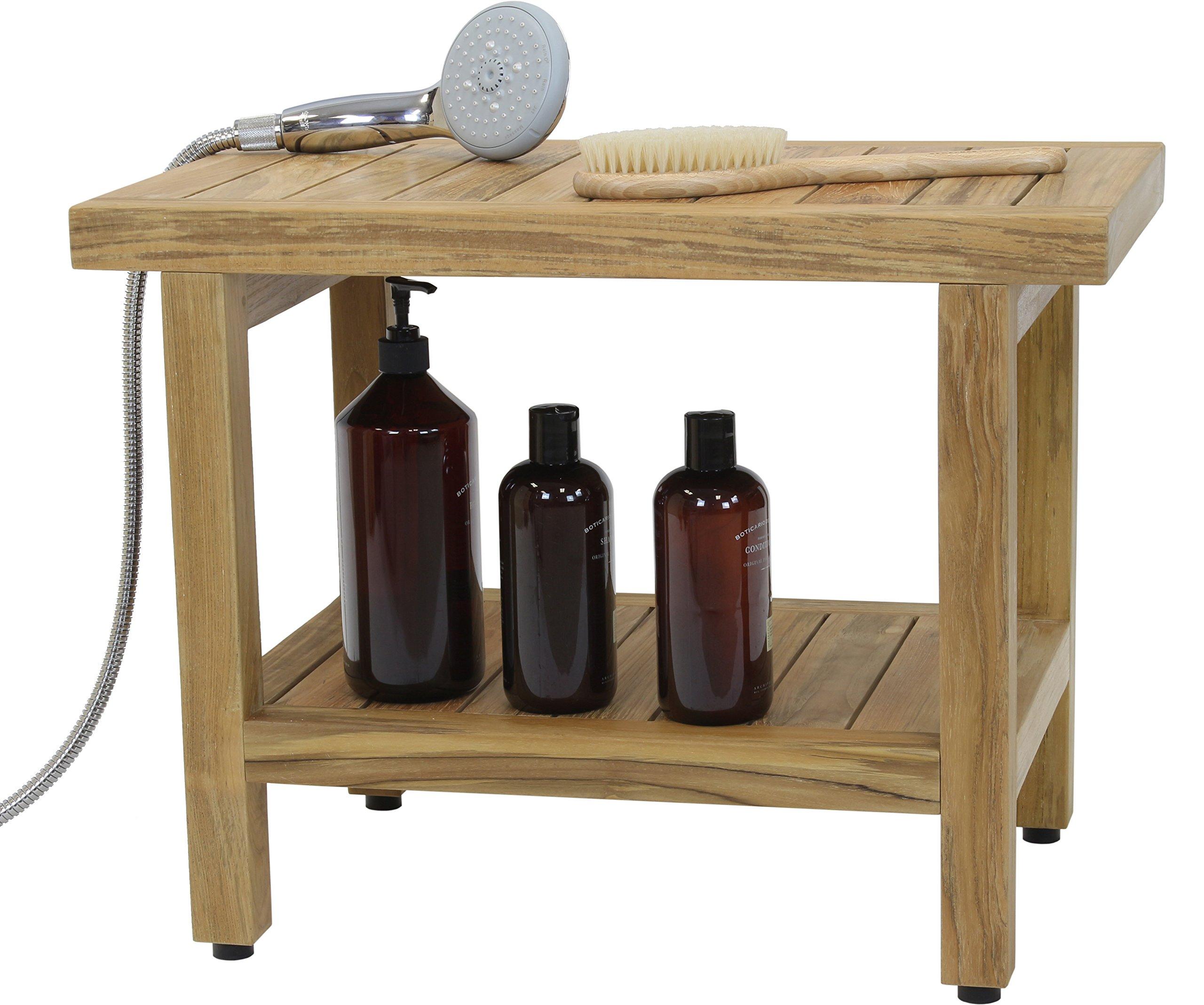 24'' Spa Natural Teak Shower Bench with Shelf by AquaTeak (Image #5)